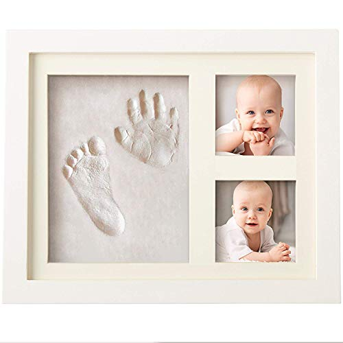 Bubzi co cornice con impronta bimbo in argilla - kit portafoto con impronta della manina e del piedino del tuo bebè - crea il tuo ricordo con il set impronte bimbi - il regalo bimbo perfetto