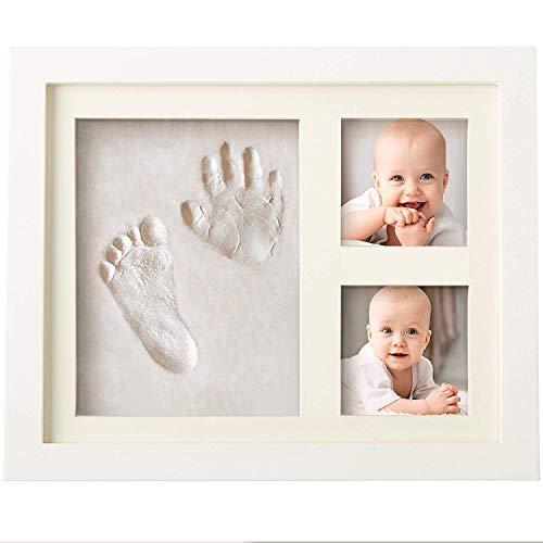 Bubzi Co Empreinte de main et de pied souvenir bébé - Argile blanche non toxique - cadre empreinte...