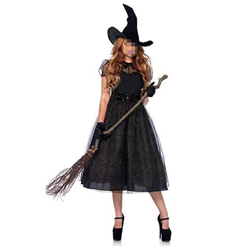Weibliches Halloween Kostüm Erwachsene Rollenspiel Hexe Kostüm Hexe spielt Langen Rock Thema Party Kostüm (Color : Black, Size : - Komisch Kostüm Party Themen