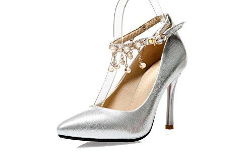 VogueZone009 Femme Matière Mélangee à Talon Haut Pointu Mosaïque Boucle Chaussures Légeres Argent