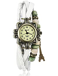 Naivo Women's Quartz Brass Plated Stainless Steel and Leather Casual Watch, Color:White (Model: NAIVO-WATCH-1205)