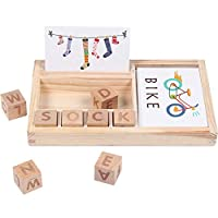 FOONEE Spelling Game Blocks, Kindergarten Learning Games For Words Study Family Educational Board Game Gift For Boys And Girls 3 And UP