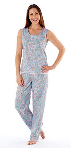 Top Bus donna senza maniche set pigiama Aqua