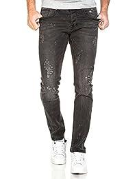 BLZ jeans - Jean slim homme noir délavé déchiré et tacheté