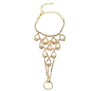 Bracelet avec Bague de Strass pour Mariée de Mariage - d'or