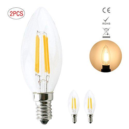Preisvergleich Produktbild 1819®LED E14 C35 Edison Lampe ersetzt 40 Watt, 4W, 400 Lumen, 3000K warmweiß, LED Kerzen Filament Fadenlampe, 360°Abstrahlwinkel 220V AC, Glas (2 Stück)