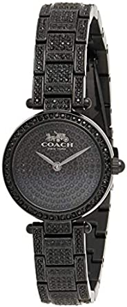 Coach Women's Black Dial Ionic Plated Black Stainless Steel With Crystal Watch - 1450