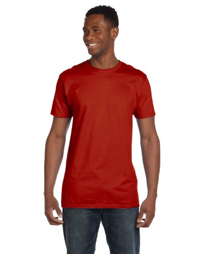 Hanes 4980 Mens Nano T-Shirt 1 Deep Red + 1 Light Steel