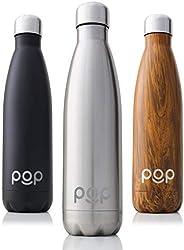 POP Design Bottiglia con Isolamento Termico in Acciaio Inossidabile, Mantiene Il Freddo per 24 Ore e Il Caldo