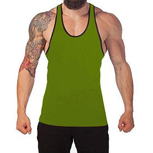 Juleya Bodybuilding Tank Top Uomo Stringer Fitness Singlet Camicia senza maniche Verde/Nero