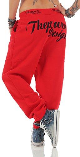 Boxusa Damen Jogginghose Thepower Design Fitnesshose Freizeithose Sporthose Thepower Rot