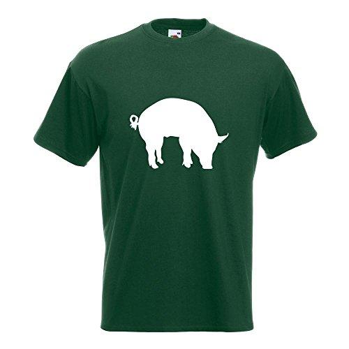 KIWISTAR - Schwein Pig Sau T-Shirt in 15 verschiedenen Farben - Herren Funshirt bedruckt Design Sprüche Spruch Motive Oberteil Baumwolle Print Größe S M L XL XXL Flaschengruen