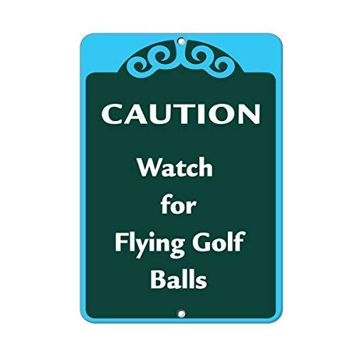 Tomlinsony Blechschild Metal Tin Sign Aluminum Caution Watch for Flying Golf Balls Activity Sign Golf Sign 12