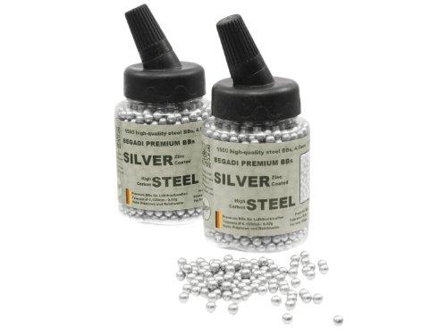 3.000 BEGADI Stahl BBs / Stahlkugeln Kal. 4,5mm .177 - silber , Zink beschichtet - in Speedloader (Bbs Silber)