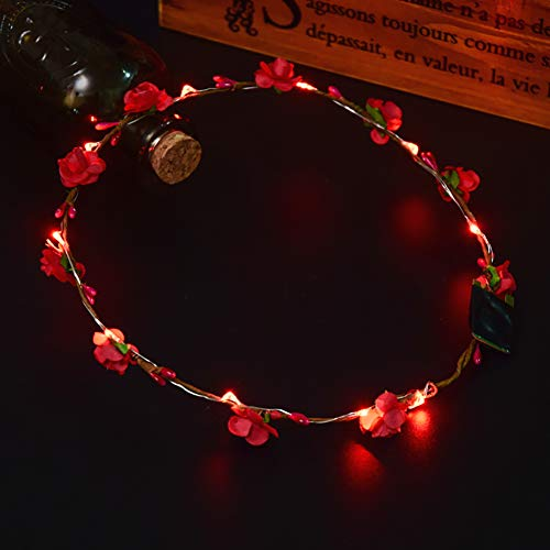 MNEFEL LED Blume Krone Stirnband 10 LED Leuchtend -