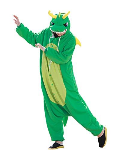 wotogold Herren Tier Drachen Pyjamas Cosplay Kostüme mit Horn Small - Der Grüne Drache Kostüm Für Erwachsene