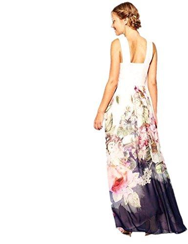 Babyonline® Damen Ärmelos Faltenrock Cocktailkleid Lang Sommer Kleid Blumen