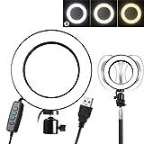 Dimmbare Fill-in Ringlicht LED Fotografie Selfie Make-up Licht Fotolampe Tischleuchte USB-Stromversorgung mit 3 einstellbarer Helligkeit (Stativ nicht enthalten) (Size : 14.5cm)