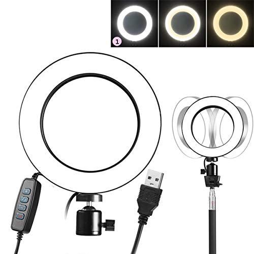 Dimmbare Fill-in Ringlicht LED Fotografie Selfie Make-up Licht Fotolampe Tischleuchte USB-Stromversorgung mit 3 einstellbarer Helligkeit (Stativ nicht enthalten) (Size : 20cm) - 3-licht-pinsel