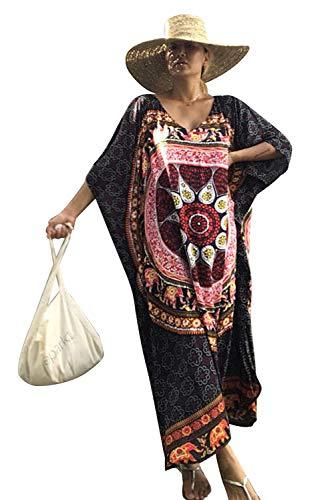Tunique Longue Femme été Grande Taille Boheme Hippie Chic Robe Imprime Africain Caftan Indien Kaftan Long Kimono Ethnique Cache Maillot de Bain Grossesse Pareo Piscine Bikini Cover Up Sarong Beachwear