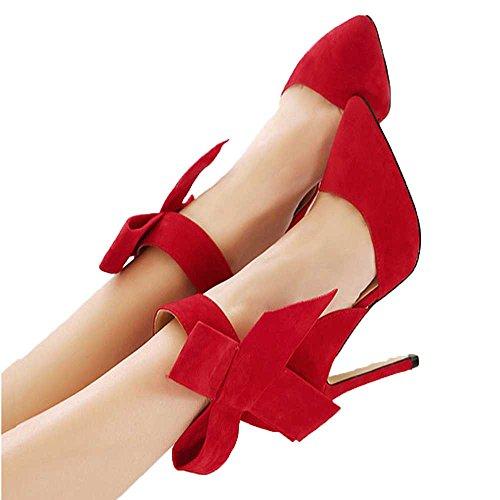 beikoard scarpe décolleté da donna con fiocco a fiocco grande con punta a  punta e tacco 4e2b16ac2a3