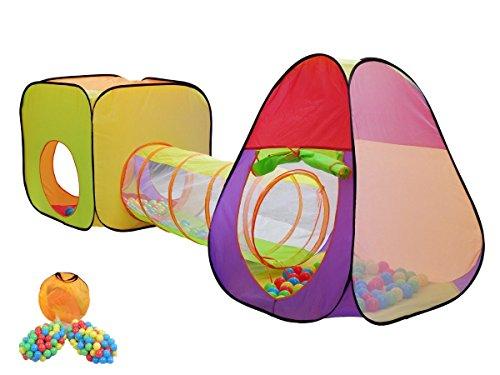 MC Star 3 teiliges Kinderzelt Spielzelt Mädchen mit Krabbeltunnel 200 Bällen Tasche Bällebad für drinnen draußen garten, Kinderspielzelt Spielhaus Zimmerzelt Prinzessin im Kinderzimmer,Pop Up, bunte Farbe