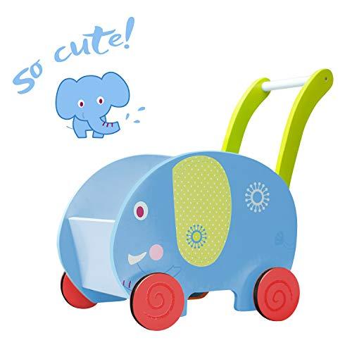 Labebe Lauflernwagen Holz, 2-in-1 Verwendung als Laufwagen, Blauer Elefant Lauflernhilfe für 1-3 Jahre, Gehfrei Lauflernhilfe Baby/Lauflernhilfe Holz/Gehhilfe Holz/Gehfrei Lauflernhilfe Baby