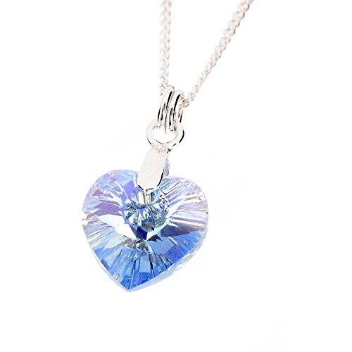 Pewterhooter, collana da donna in argento sterling 925con ciondolo acquamarina azzurro a forma di cuore in cristallo swarovski