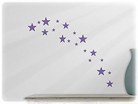 wallfactory - wall decal - 19 high-quality Stars (St4xs) in lavender