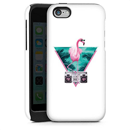 Apple iPhone 5s Housse Étui Protection Coque Flamand rose Triangle Triangle Cas Tough brillant