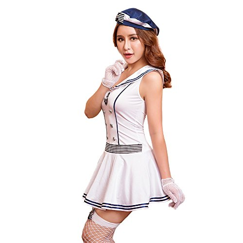 Kostüm Freche Seemann - Sailor Uniform Sexy Mini One Piece Cosplay Uniform Versuchung Unterwäsche 5 Stück Set Ein Stück Handschuh Hut T Rückengröße mit Strumpf (Size : Free Size)