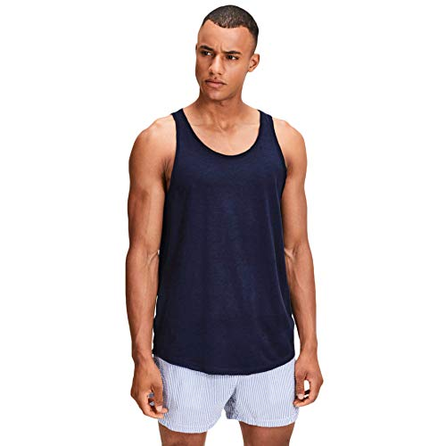 Jack & Jones NOS Herren Jorwallet Tank STS Top, Blau (Total Eclipse Fit: Reg Long Line), Small (Herstellergröße: S) - Klassische Print-tank-top