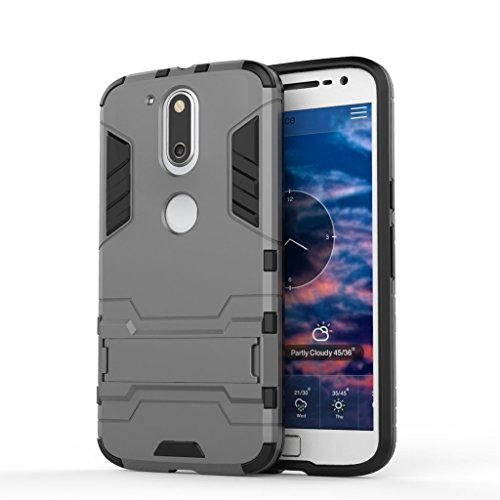 Sdo Ver2Kickstand Mg4P Military Grade Armor With Kick Stand Version 2.0 Back Cover Case For Moto G4 Plus, Metal Grey