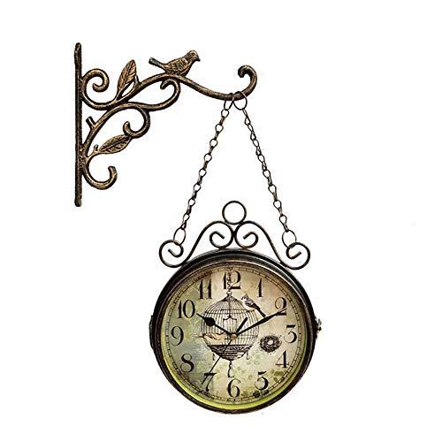 XJYA Jahrgang Doppelseitig Wanduhr Eisen Metall Leise Ruhig Grand Central Station Wanduhr Kunst Uhr dekorativ Doppelseitig Wanduhr Drehen Antiquität Uhr
