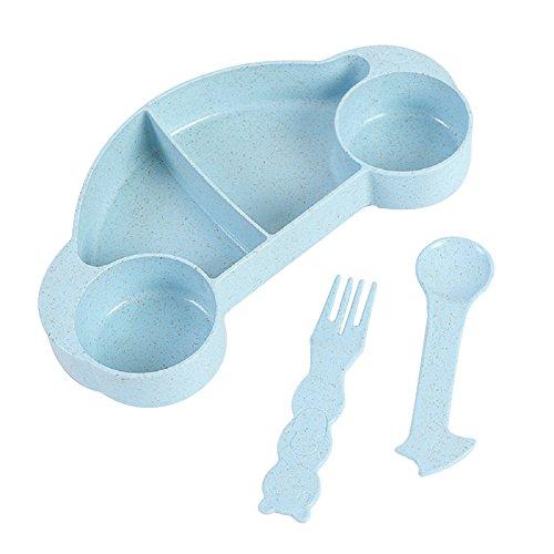 Hacoly Kinder 3/set Schüssel Löffel Gabel Automobil form Eiscreme Dessertschale Müslischalen lebensmittel Kunststoff 4 Gitter Schalen Salatschale Küchenutensilien Tools Geschenke für Kinders - Blau