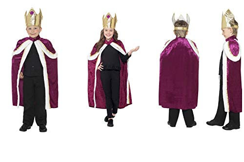 (Fancy Dress World - Childrens Kids Kiddy King Queen Crown & Robe Costume - Three Wise Men Christmas Nativity Panto Party Fun 35959 (Kiddy King Costume, UK Kids Size Medium 7-9))