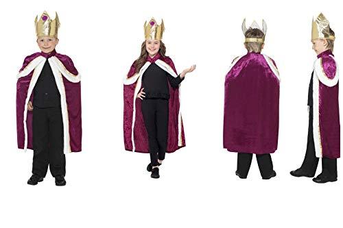 Fancy Dress World - Childrens Kids Kiddy King Queen Crown & Robe Costume - Three Wise Men Christmas Nativity Panto Party Fun 35959 (Kiddy King Costume, UK Kids Size Medium ()