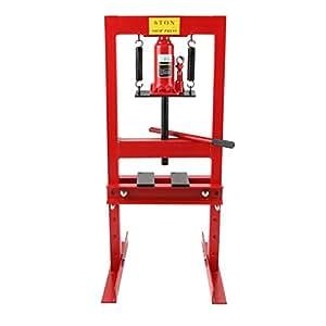 EBERTH Presse hydraulique d'atelier cadre d'établi commande manuelle (6 tonnes forces, 300 mm hauteur réglable 4 niveaux, imprimerie)