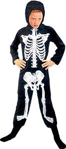 Ciao - Disfraz de esqueleto talla L (7-9 años) para niños, unisex, negro/blanco, 61044.L