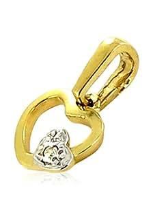 Tous mes bijoux - Pendentif seul (sans chaîne) - Or bicolore 18 cts - Diamant 0.01 cts - PDTAEA01004