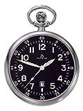 DUGENA 4288289-1 Taschenuhr Lepine mit Kette Uhr Edelstahl Analog Datum schwarz