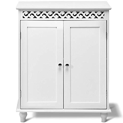 Costway armadietto in legno, mobile multiuso da bagno soggiorno cucina con 2 ante, bianco, 60 x 34,5 x 76,5 cm