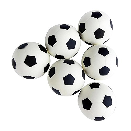 Wicemoon 6 Pièces Mini 32 mm Ballons de Soccer, Football Baby-Foot pour Jeu Jouet Enfant (Noir Blanc)
