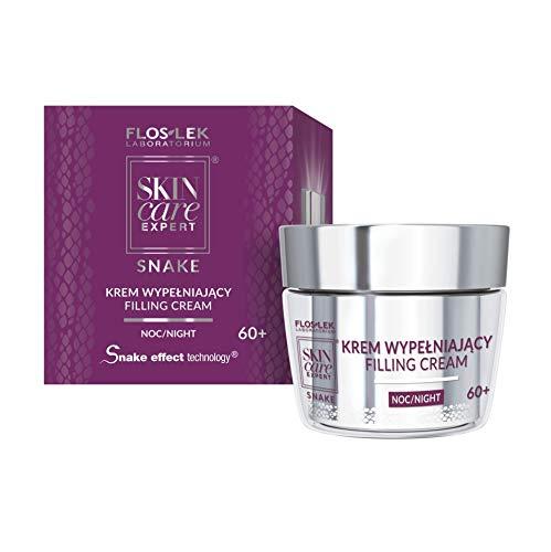 Floslek SKIN Care EXPERT® SNAKE Auffüllende Gesicht Nacht-Creme 60+ | 50 ml | Innovative Formel, die Falten sofort Füllt | für Personen ab 50 | für jeden Haut-typ und Frauen -