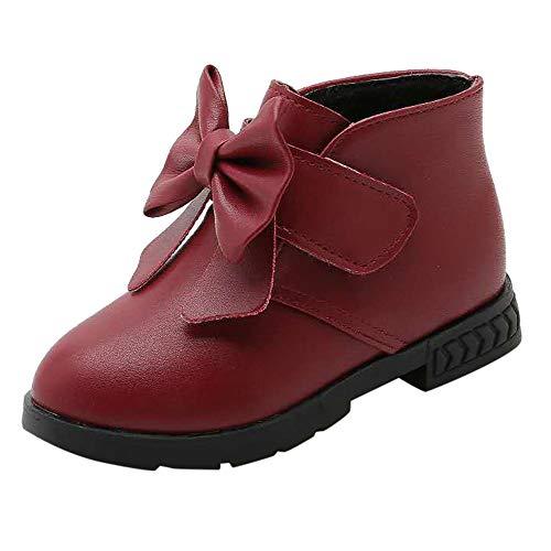 Darringls Zapatillas para Bebés Zapatos de Bebé Zapatillas de Deporte niños niños niñas bebé Bowknot sólido cálido Navidad Botas Princesa Zapatos de Invierno Navidad Halloween