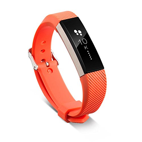 Fitbit Alta HR armband, SHOBDW Ersatz-Armband-Silikon-Armband-Verschluss für Fitbit Alta HR-Armbanduhr (Orange, 160-220mm)