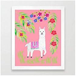 Kunstdruck - Illustration - Süßes Alpaka im Sommergarten- A4 Größe in weissem Holzrahmen