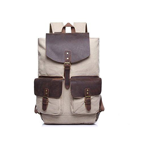 BAGEHUA les hommes et femmes des sacs de toile occasionnels grande capacité de voyage Vêtements Homme Sac à dos les sacs à dos de pique-nique en plein air Durable (Long 28cm Largeur 14cm Haut 48cm)