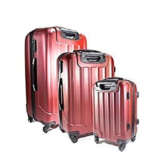 ALEKO LG06BURG ABS Luggage Travel Suitcase Set with Lock 3 Piece Embossed Stripe Burgundy