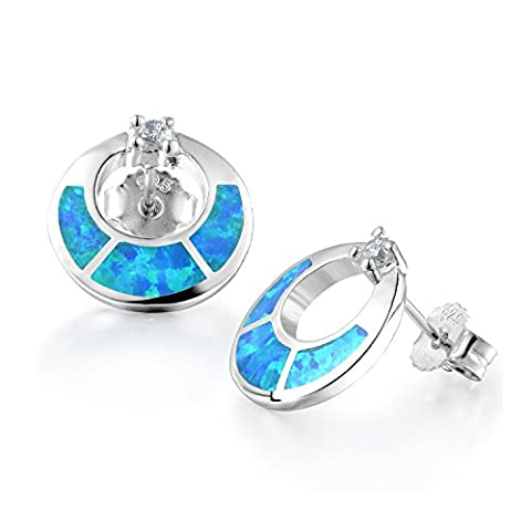 Dormith® sterling silver open Circle synthetic blue fire opal inlay stud earrings